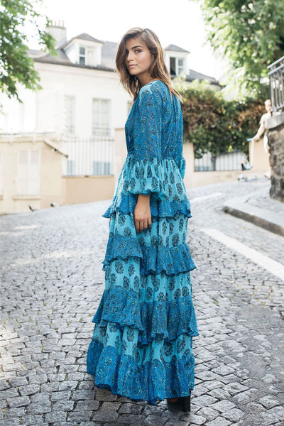 Felicie Tiered Maxi Dress - Blue