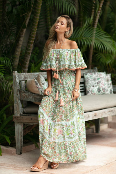 Buy Miss June Paris Bambi Dress online at Australia Stockists Smoke and Mirrors Boutique. Boho Floral Off the Shoulder Maxi Dress with Ruffle in Pastel Green and Coral Pink