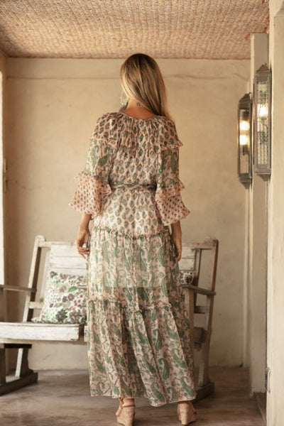 Buy Miss June Paris Wild Rose Maxi Dress online now at Australian Stockists Smoke and Mirrors Boutique. Khaki and Pink Sheer Boho Dress with Lurex Thread