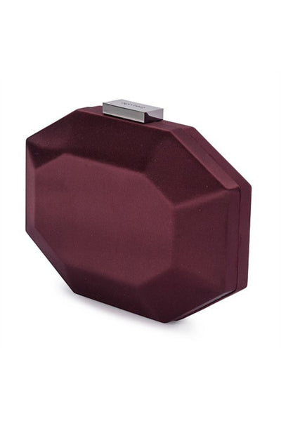 Amelia Satin Pod Clutch - Burgundy