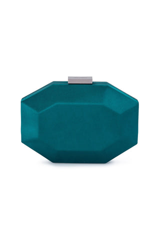 Amelia Satin Pod Clutch - Green