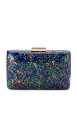 Buy Olga Berg Carsyn Mother of Pearl Acrylic Clutch Online. Statement Acrylic Metallic Evening Clutches Online Australia.