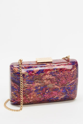 Carsyn Mother of Pearl Acrylic Clutch - Magenta