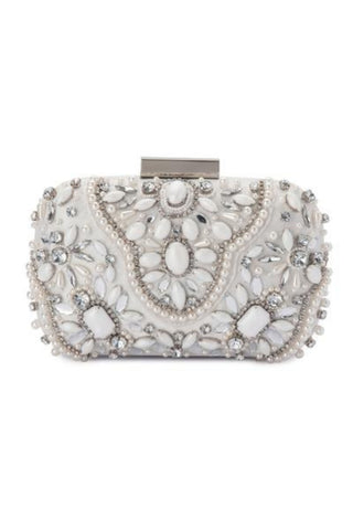 Olga Berg Clarise Jewelled Clutch White. Statement Crystal Beaded Embellished Clutch Bridal and Formal.