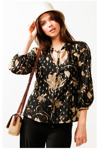 Breakfast Creek 3/4 Sleeve Loose Blouse - Black Gold
