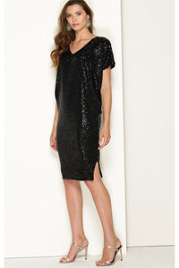 Antilles Reversible Batwing Dress - Black Sequin