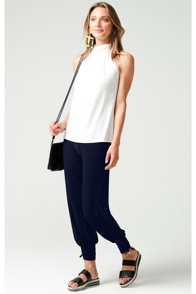 Harem Stretch Jersey Pants - Navy