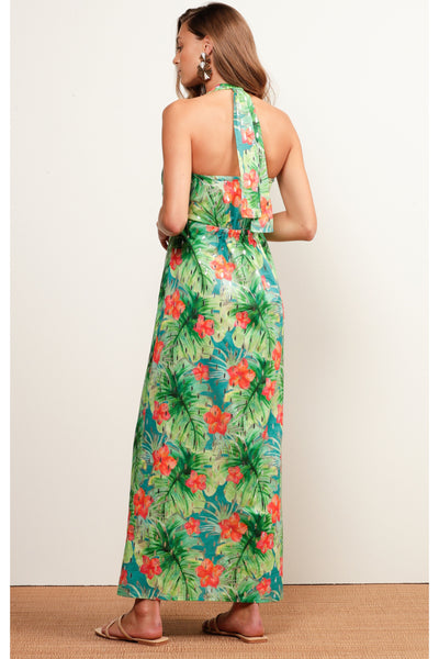 Buy Sacha Drake Mermaid Beach Halter Neck Dress Hibiscus Silver Tropical Print. Beach Cocktail Wedding Dress Green and Orange Maxi Dress