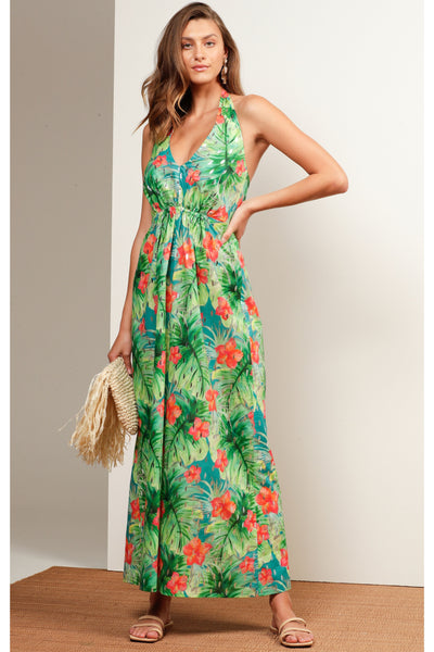 Buy Sacha Drake Mermaid Beach Halter Neck Dress Hibiscus Silver Tropical Print. Beach Cocktail Wedding Dress