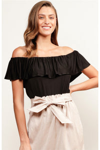 Off the Shoulder Frill Jersey Top - Black