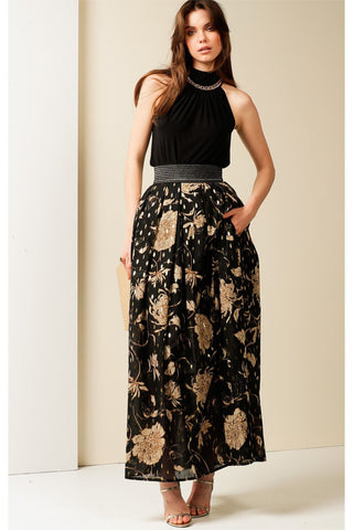 River City Elasticated Maxi Skirt - Black Gold