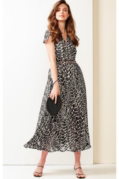 Southbank Cap Sleeve Midi Dress - Black and White Animal