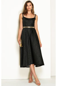 Stamford Plaza Tea Length Midi Dress - Black Gold