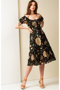 Hotel De Paris Midi Dress - Black Gold SIZE 8 ONLY
