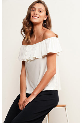 Buy Sacha Drake Classic Off the Shoulder Frill Top in White Stretch Jersey online. Basic Frill Top Ivory.