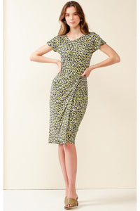 Victoria Park Cap Sleeve Midi Dress - Navy Lime Floral