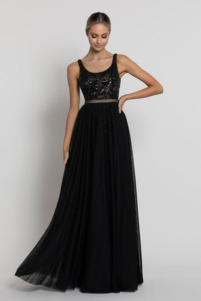 Dianne Scoop Neck Gown w/ Detachable Skirt - Black/Nude