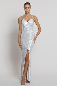 Emille Jersey Sequin Gown - White/Silver