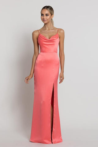 Lana Cowl Neck Gown - Coral