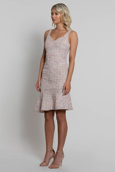 Buy Lumier Fern Asymmetric Frill Dress online. Mother of the Bride and Groom Dresses, Outfits, and Ideas. Pink Chanel Inspired boucle tweed dress.