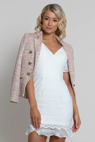 Buy Lumier Saba Button Jacket online now at Smoke and Mirrors Boutique. Shop Mother of the Bride and Groom Dresses and Ideas. Pink Tweed Jacket Chanel.