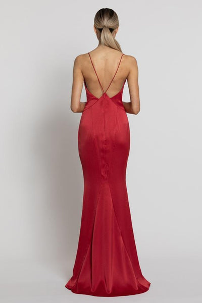 Nora V-Neck Gown - Red