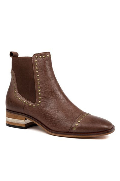 Django and Juliette Ferras Boot Brandy Leather Brown Chelsea Boot with Stud detail and Clear Heel