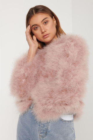 Buy Elliatt Province Feather Jacker in Rose online at Smoke and Mirrors Boutique. Blush Pink Long Sleeved Natural feather jacket with high neck.