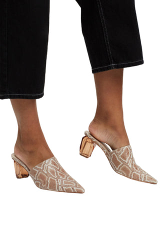 Hael and Jax Power Heel Mocha Snake Crystal Geometric Heel