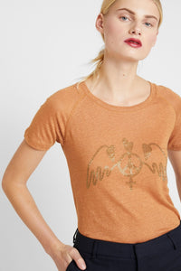 Mos Mosh Mag Linen Tee in Bran. Slim Fit t-shirt in terracotta/bronze colour with bronze crystal appliqued peace wings to front bust. Short Sleeves.