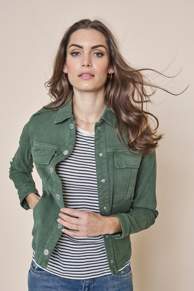 Mos Mosh Blaire Herringbone Jacket in Union Green. Khaki Green Denim Jacket with Boyfriend Fit. Double Breasted Pockets and silver hardware.