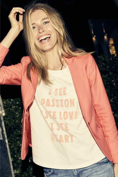 Mos Mosh Australia Isee Flock Tee. White t-Shirt with quote I see passion, I see love, I see heart on front in pink.