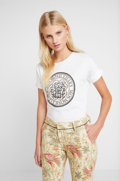 Buy Mos Mosh Yara Anniversary T-Shirt online at Smoke and Mirrors Boutique. White cotton boyfriend cut t-shirt with black and gold embellishment on front.