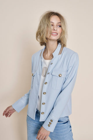 Buy Mos Mosh Selby Twiggy Jacket Celestial Blue online Australia. Baby Blue Jacket. Pale Blue Jacket. Military Style Jacket.