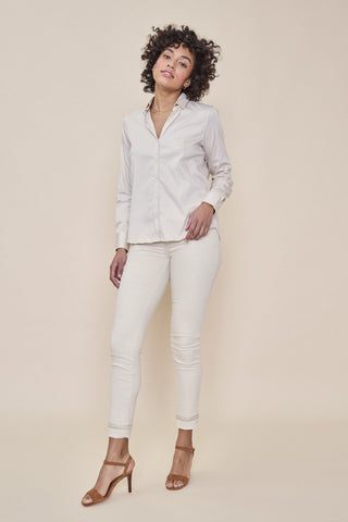 Buy Mos Mosh Sumner Cream Jean online at Smoke and Mirrors Boutique. Cream ankle crop jean with silver and gold embroidery along ankle and back pocket. Mid Rise.