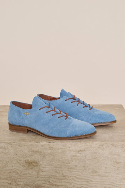 Shop Mos Mosh Vienna Suede Shoe in Blue. Blue Suede Oxford. Blue Brogue. Elvis Shoes.