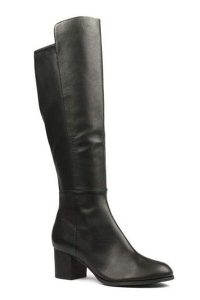 Setley Knee High Leather Boot - Black
