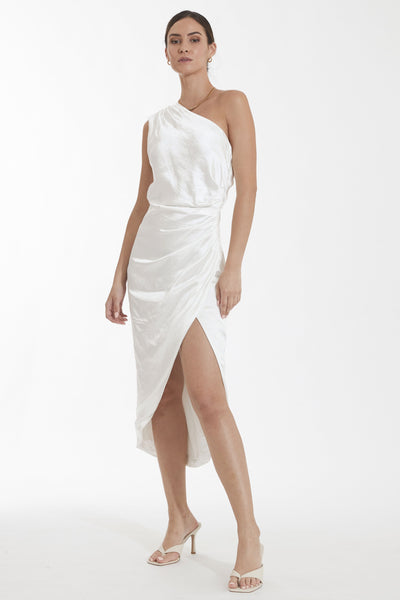Cassini One Shoulder Midi Dress - Ivory