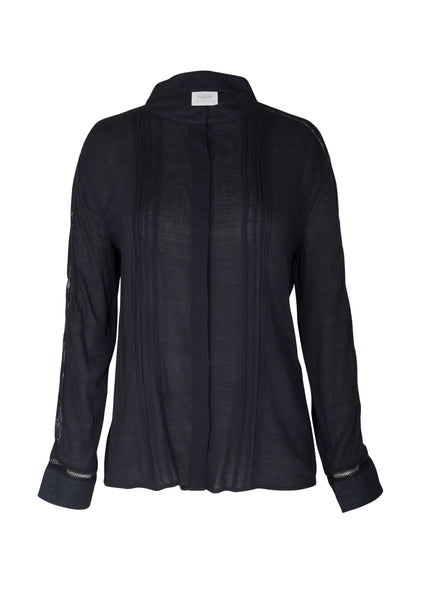Paris Lattice Lace Shirt - Black