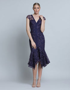Bella Cap Sleeve Lace Dress - Navy