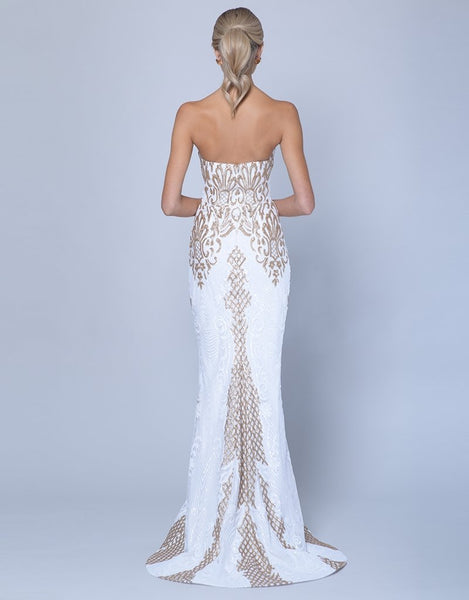 Nahema Strapless Pattern Sequin Gown - White/Gold