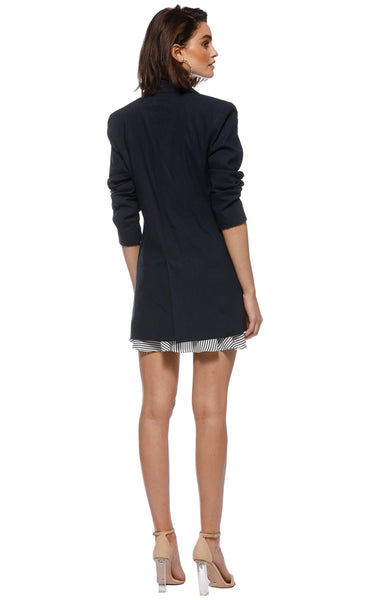 Amore Stretch Linen Blazer - Navy