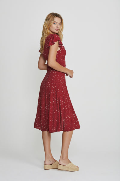 Auguste the Label Luna Dusk Midi Dress Wine Free Shipping. Auguste the Label ZipPay. Auguste the Label Afterpay.