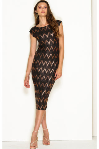 Fortitude Fitted Stretch Boat Neck Midi - Bronze Lurex