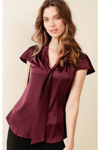 GPO Loose Fit Tie Neck Blouse - Black Cherry