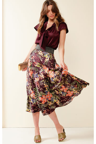Roma St Park Elasticated Waist Midi Skirt - Aubergine Orange Floral