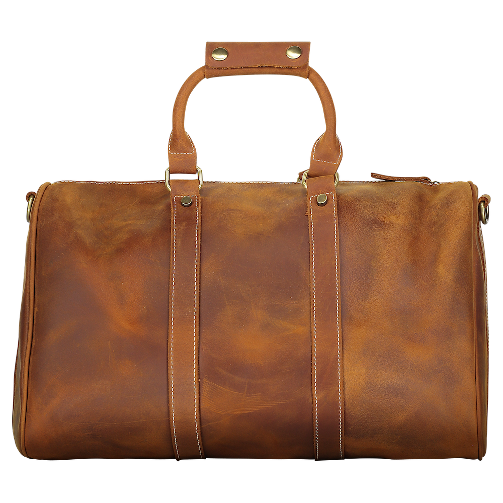 Flint Leather Co Overnight Duffle - Red Brown