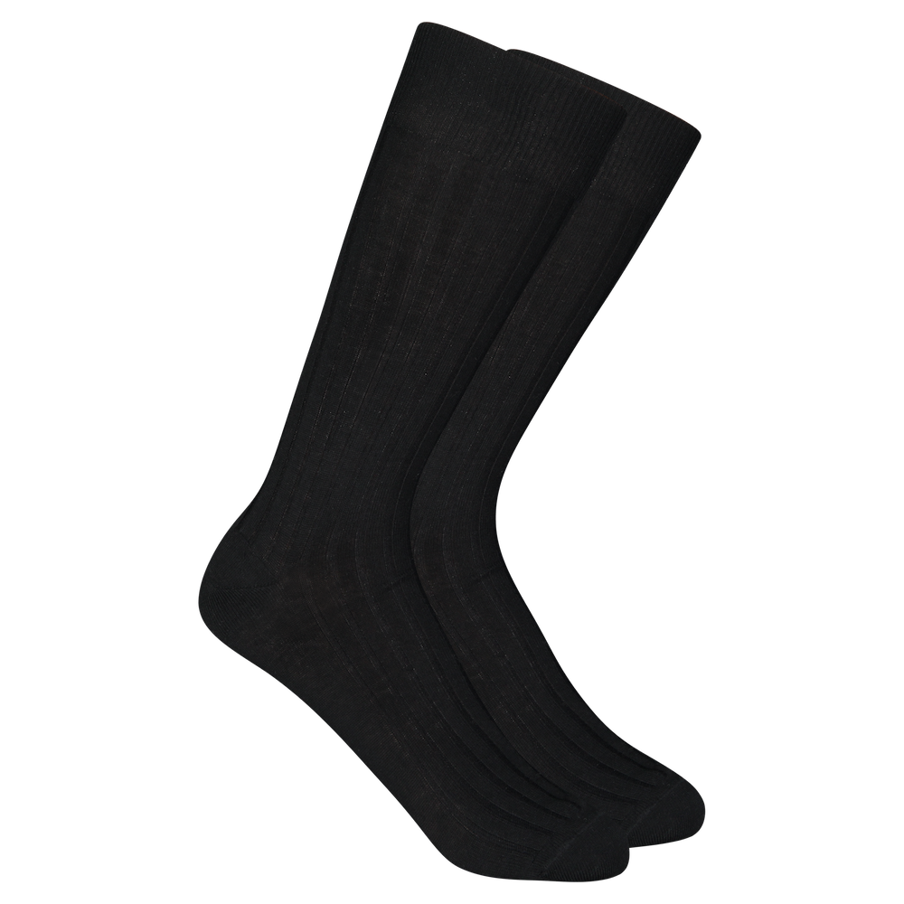 Merino Wool Dress Socks - Black