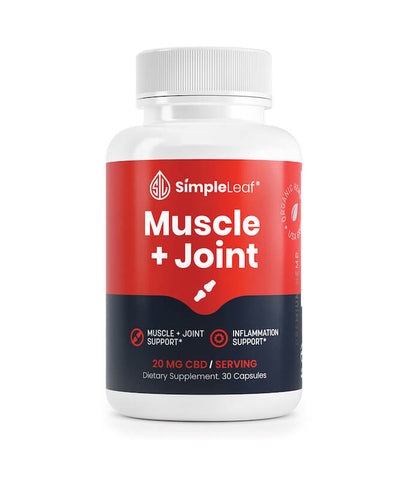 Simple Leaf CBD Muscle + Joint Capsules Bottle