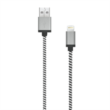 Load image into Gallery viewer, 7 FEET MFI BRAIDED BLACK/WHITE LIGHTNING CABLE W/ METAL CONNECTOR